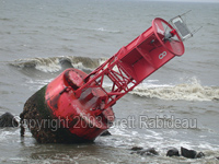 9/19/2003 - Hurricane Isabel - Navigational Buoy breaks free and washes up on West Haven CT Shoreline